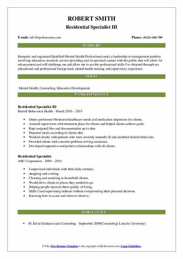 Residential Specialist III Resume Model