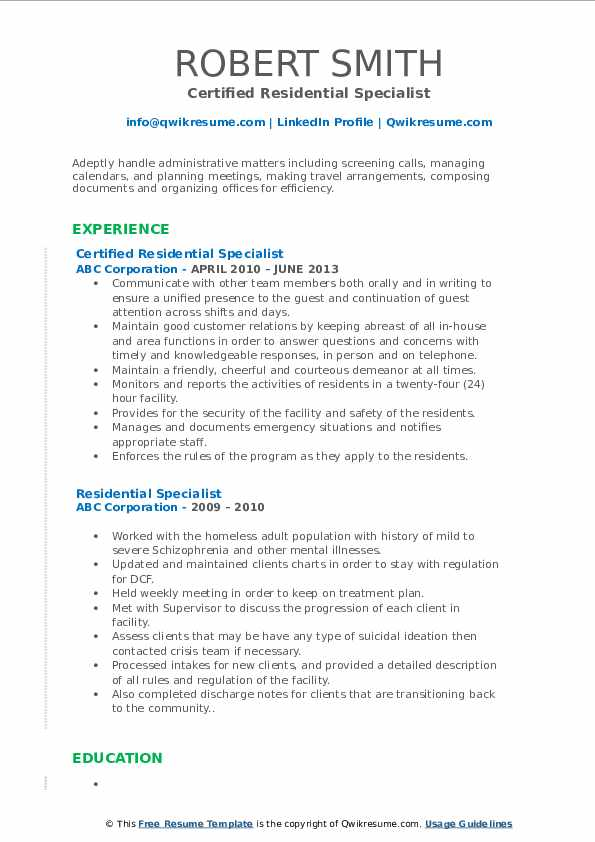 Certified Residential Specialist Resume Sample