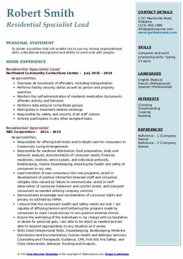 Residential Specialist Lead Resume Example