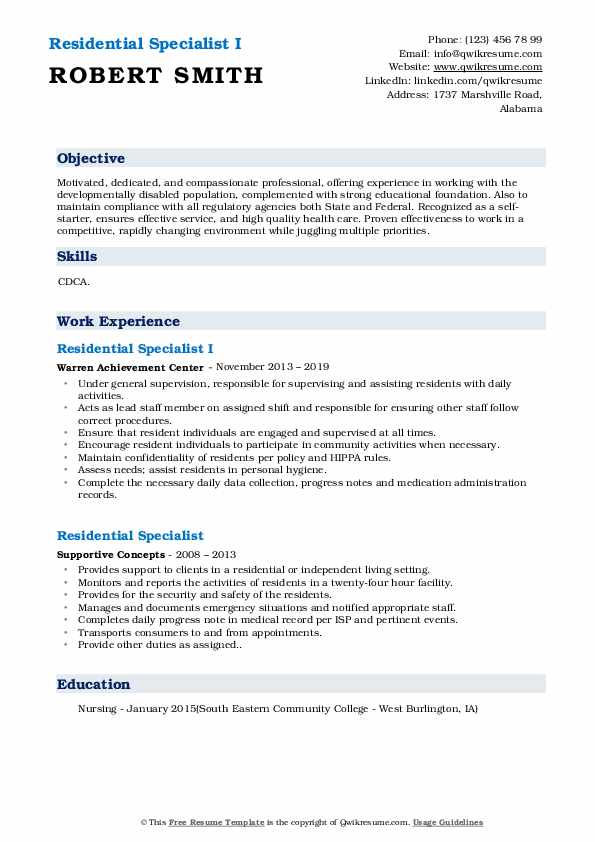 Residential Specialist I Resume Sample
