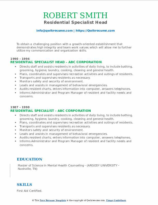 Residential Specialist Head Resume Template
