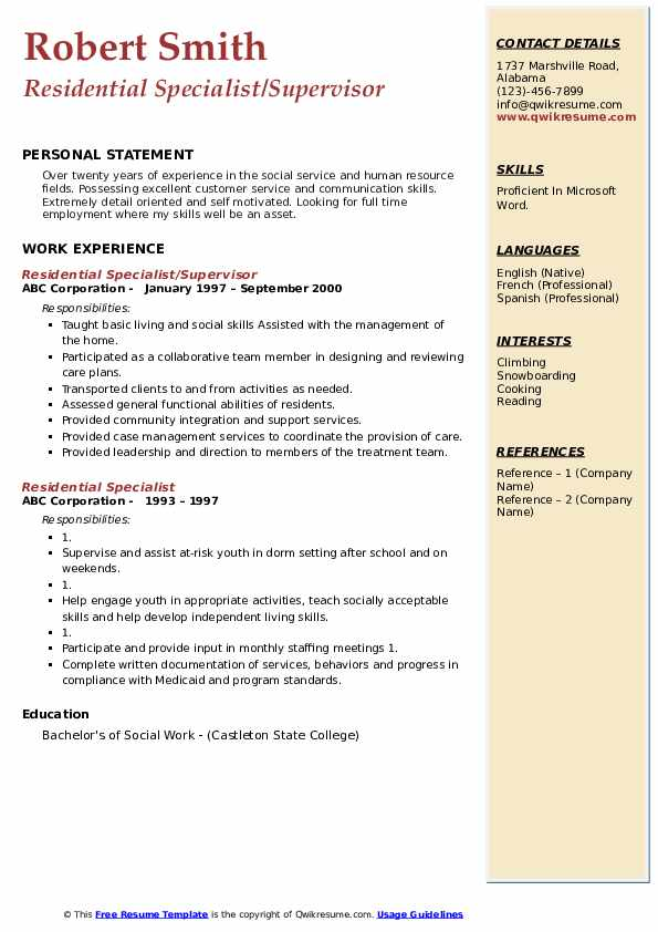 Residential Specialist/Supervisor Resume Sample