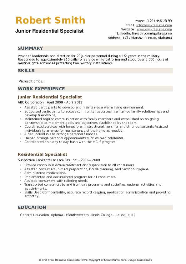 Junior Residential Specialist Resume Example