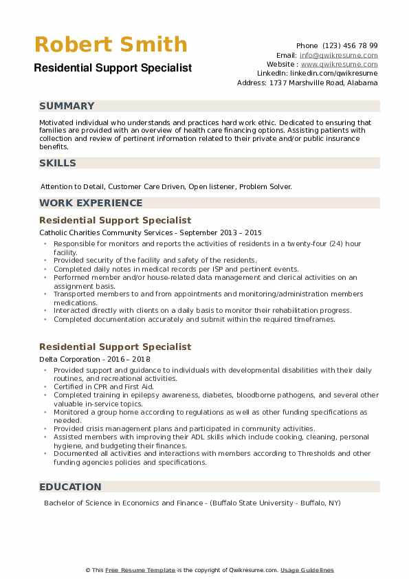 Residential Support Specialist Resume example