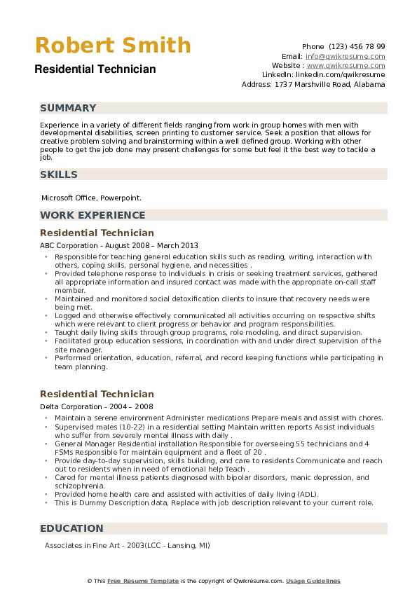 Residential Technician Resume example