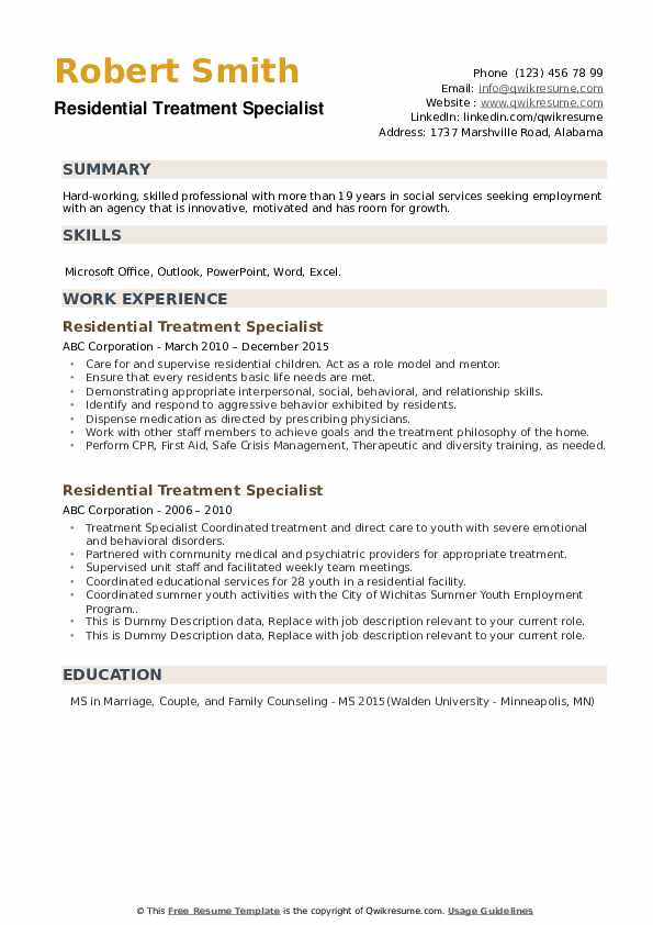 Residential Treatment Specialist Resume example