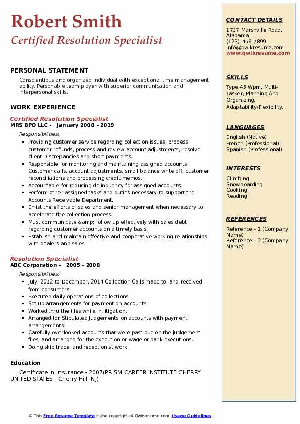 Certified Resolution Specialist Resume Format