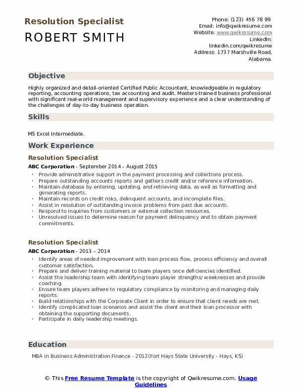 Resolution Specialist Resume example