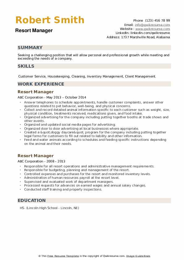 Resort Manager Resume example