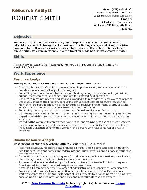 Resource Analyst Resume Model