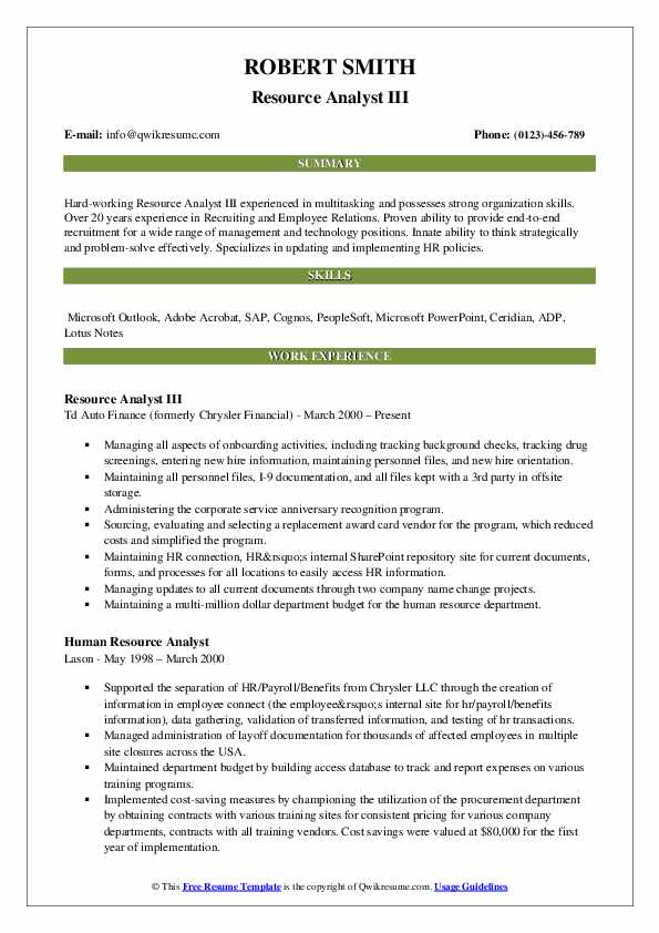Resource Analyst III Resume Model