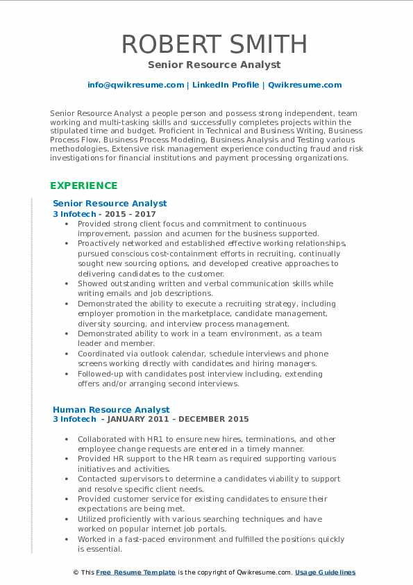 Senior Resource Analyst Resume Sample