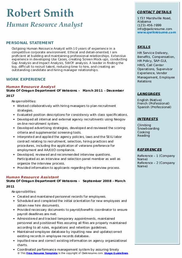 Human Resource Analyst Resume Format