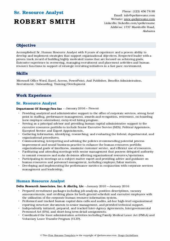 Sr Resource Analyst Resume Example