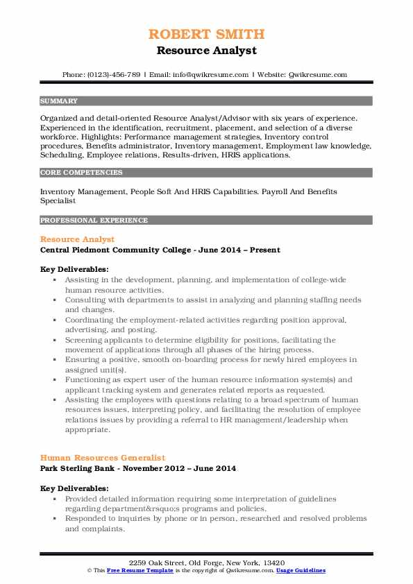 Resource Analyst Resume Sample