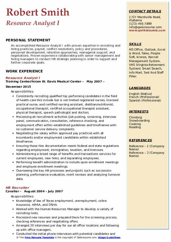 Resource Analyst I Resume Format