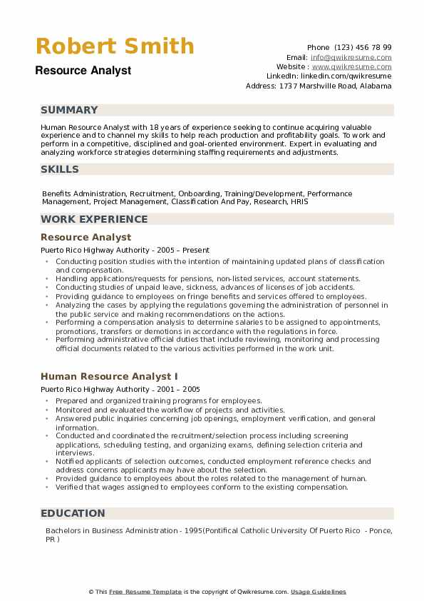 Resource Analyst Resume Example