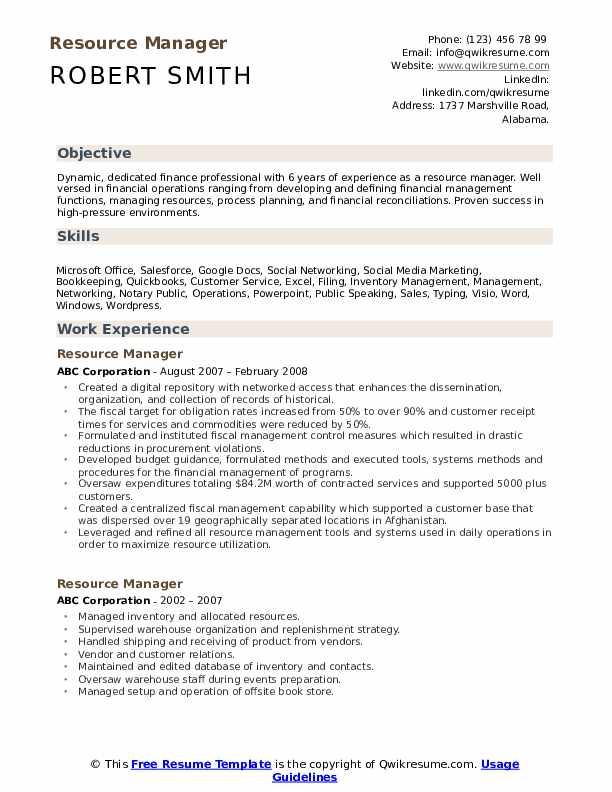 Resource Manager Resume Template