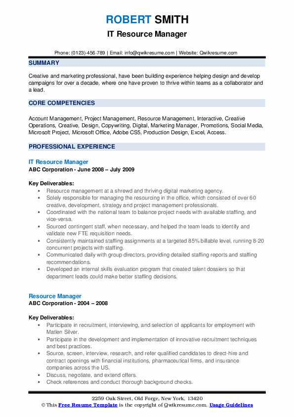 IT Resource Manager Resume Format