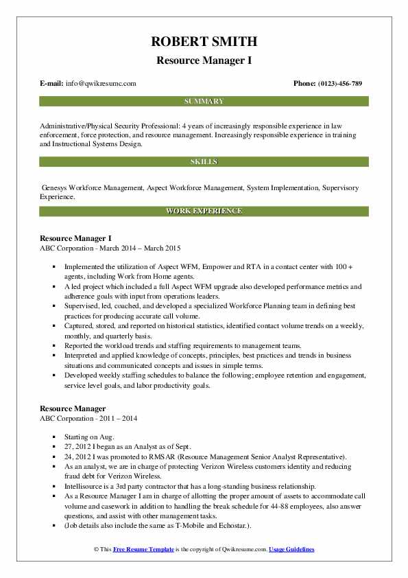Resource Manager I Resume Example