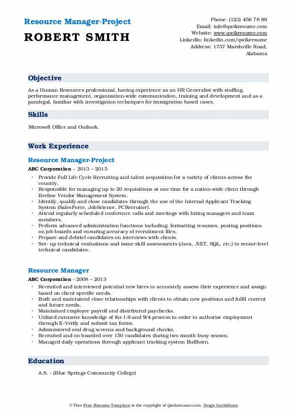 Resource Manager-Project Resume Model