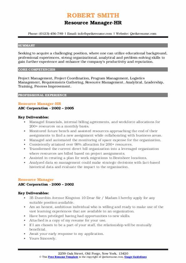 Resource Manager-HR Resume Model