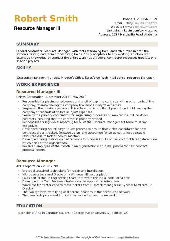 Resource Manager III Resume Format