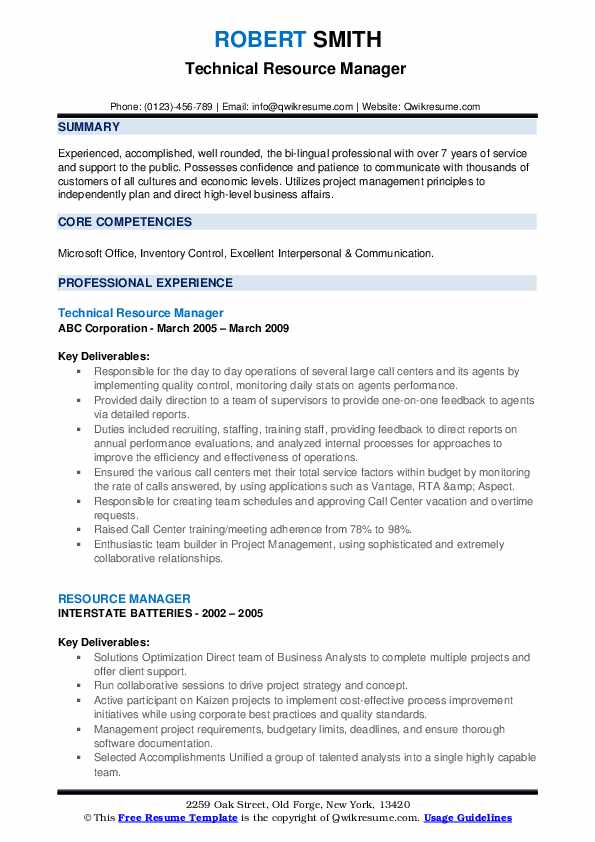 Technical Resource Manager  Resume Example