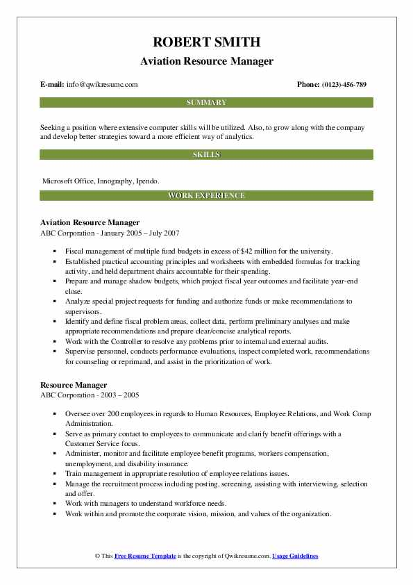 Aviation Resource Manager Resume Template