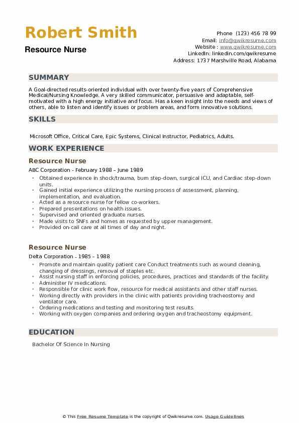 Resource Nurse Resume example