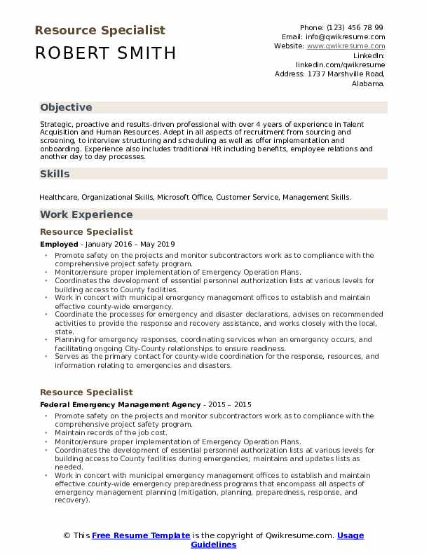 Resource Specialist Resume Sample