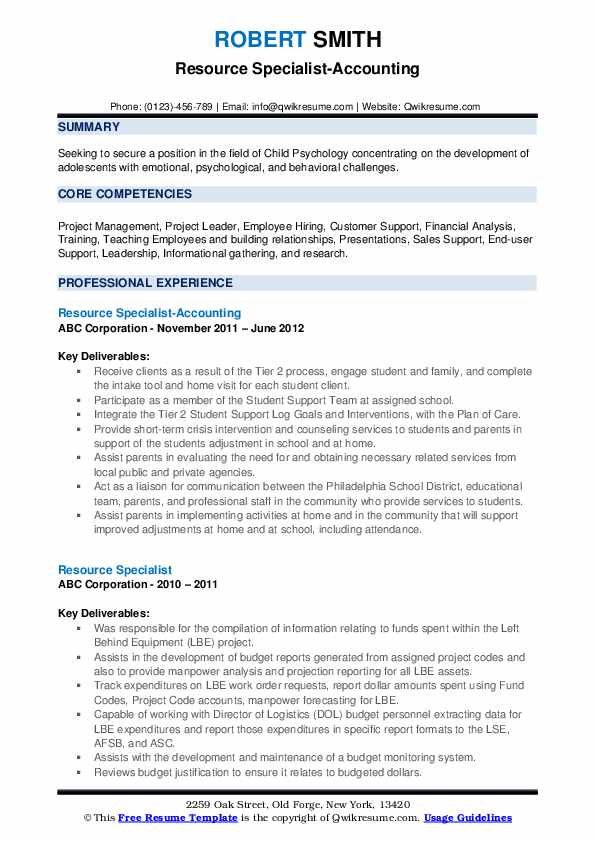 Resource Specialist-Accounting Resume Sample