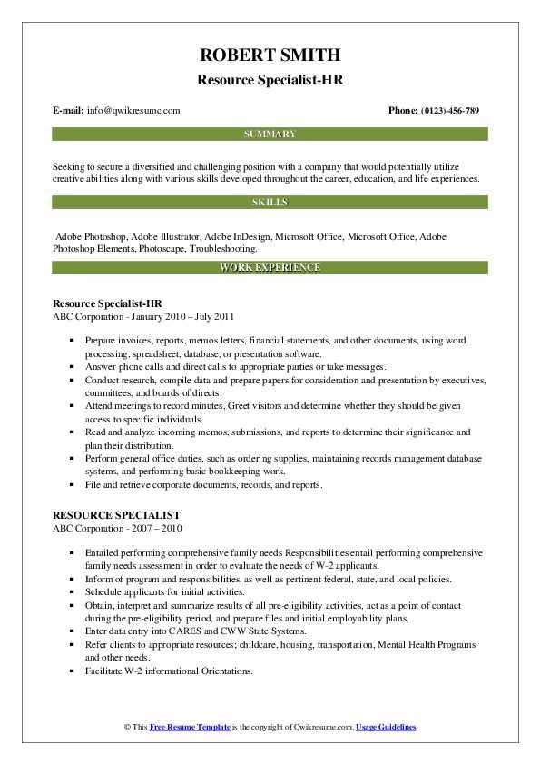 Resource Specialist-HR Resume Model