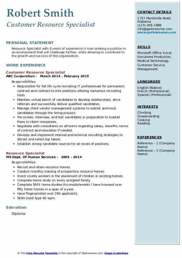 Customer Resource Specialist Resume Example