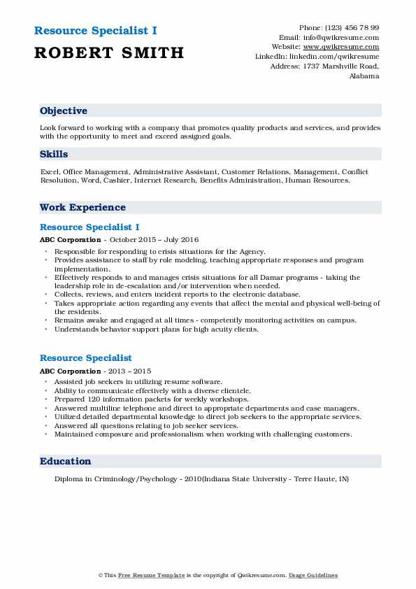 Resource Specialist I Resume Template