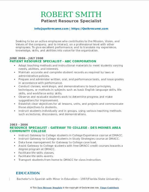 Patient Resource Specialist Resume Model