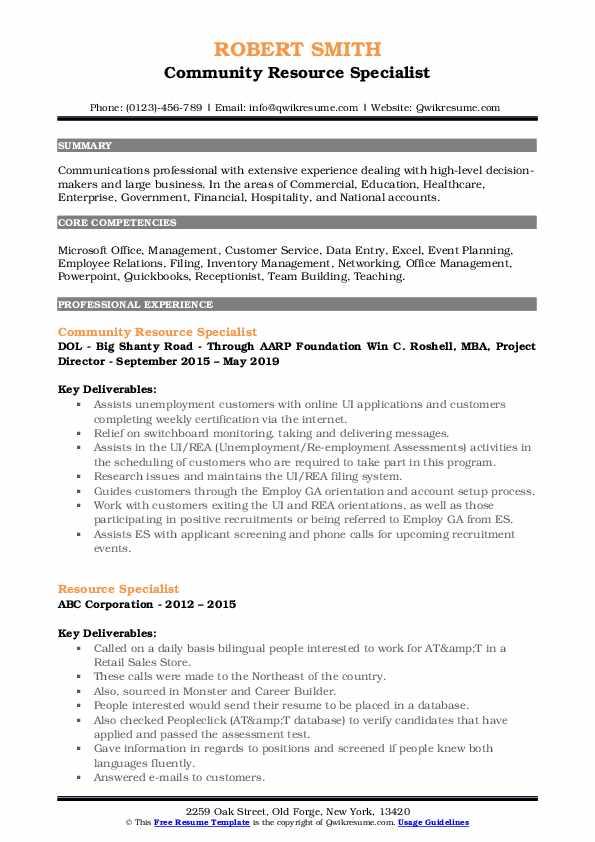 Community Resource Specialist Resume Sample