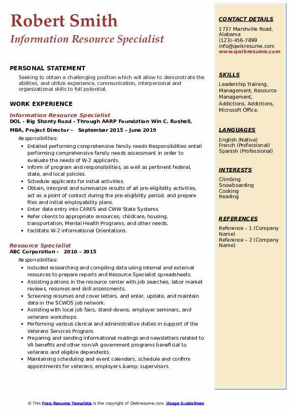 Information Resource Specialist Resume Sample