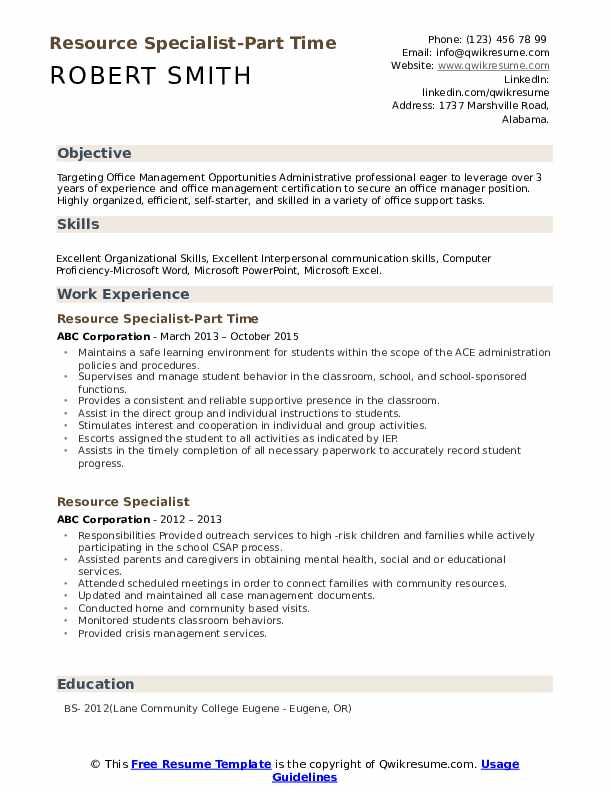 Resource Specialist-Part Time Resume Sample