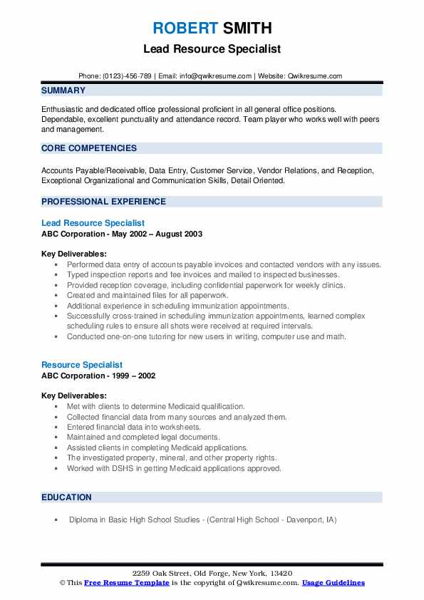 Lead Resource Specialist Resume Template
