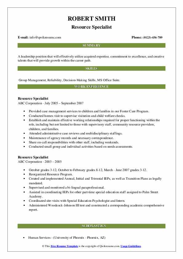 Resource Specialist Resume example