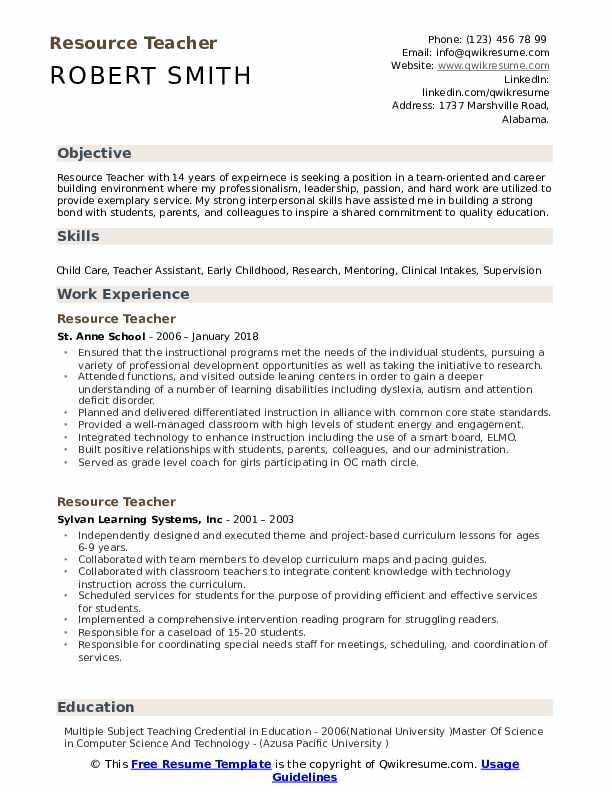 Resource Teacher Resume Format