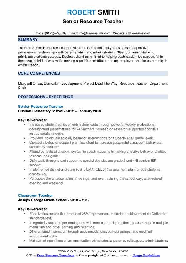 Senior Resource Teacher Resume Format