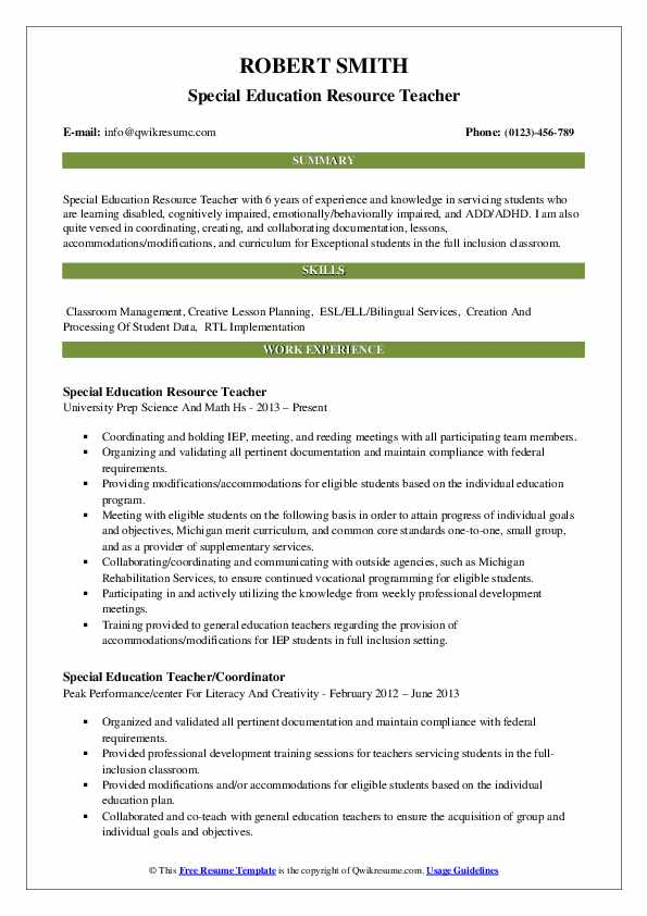Special Education Resource Teacher Resume Template