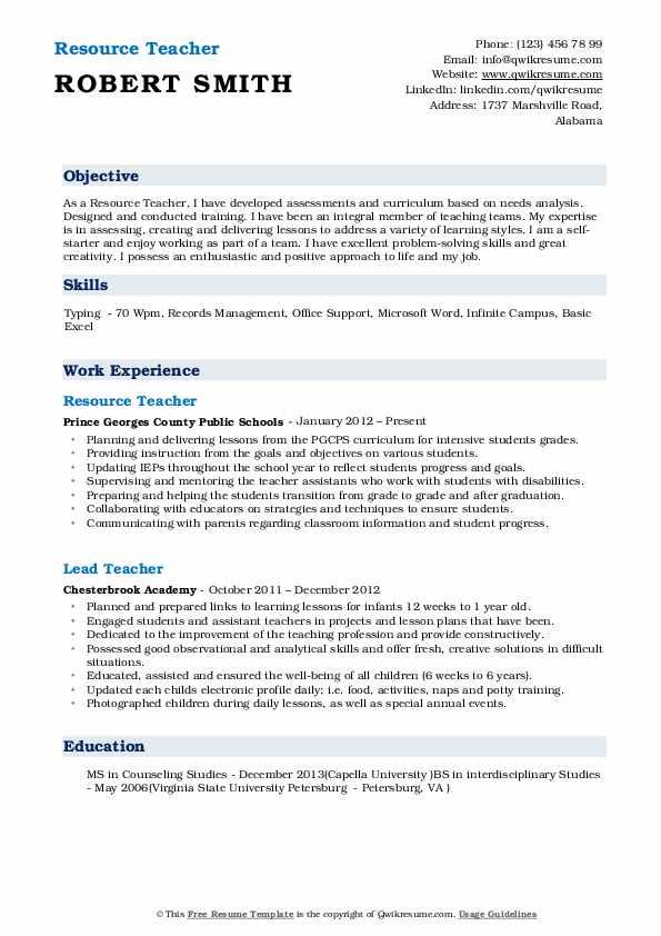 resource teacher resume samples