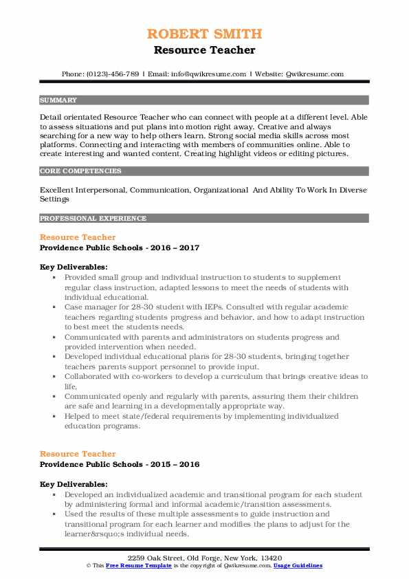 resource teacher resume samples