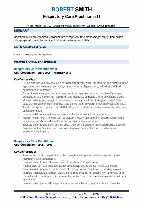 Respiratory Care Practitioner III Resume Sample
