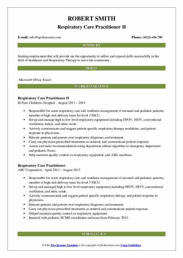 Respiratory Care Practitioner II Resume Format