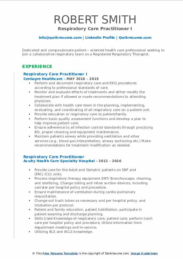 Respiratory Care Practitioner I Resume Model