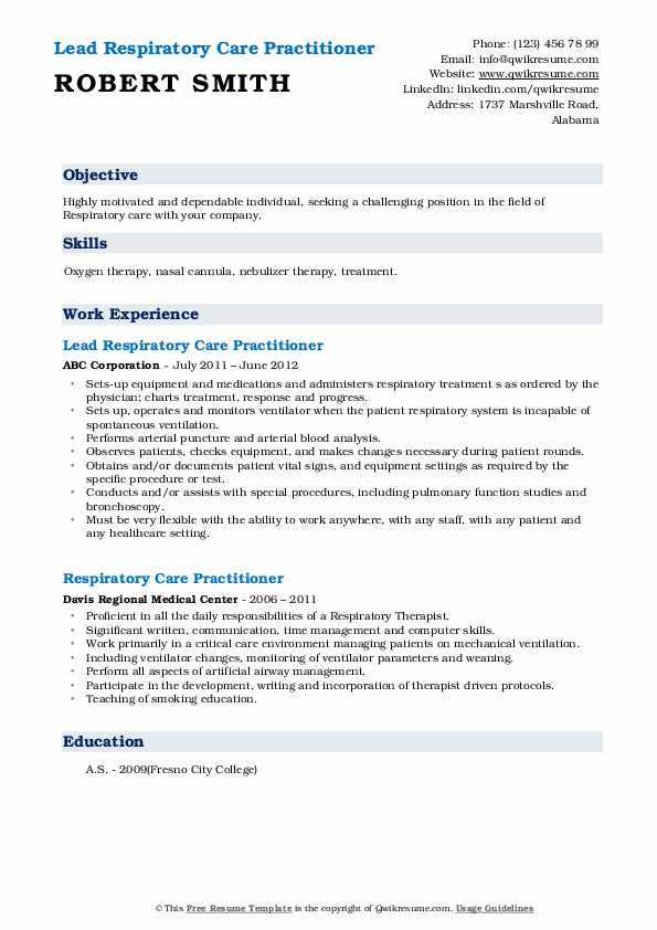 Lead Respiratory Care Practitioner Resume Example